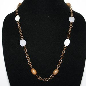 Vintage gold wooden and mother of pearl necklace